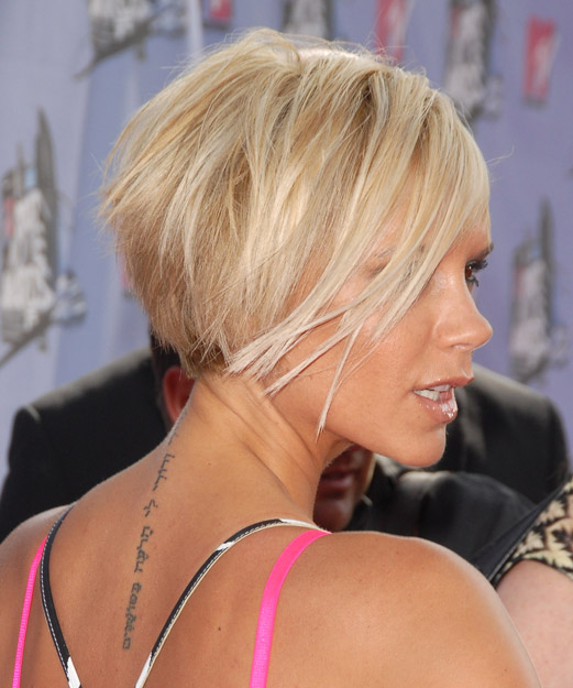 Victoria Beckham Short Straight Hairstyle - Light Blonde - side view 2