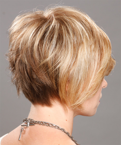 Short Straight Casual Hairstyle - Medium Blonde (Champagne) Hair Color - side on view