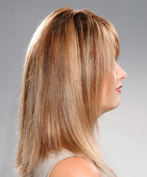 Long Straight Casual Hairstyle with Side Swept Bangs - Dark Blonde (Copper) Hair Color - side on view