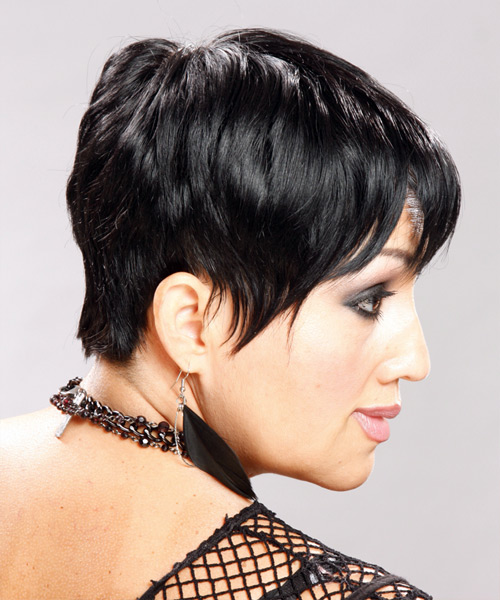 Short Straight Casual Pixie Hairstyle - Black (Mocha) Hair Color - side on view