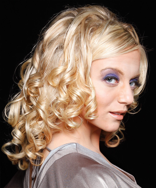 Long Curly Formal Hairstyle - Light Blonde (Honey) - side view 2