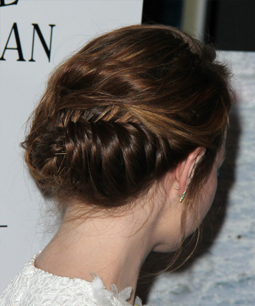 Emma Stone Long Wavy Formal Wedding Updo - side on view