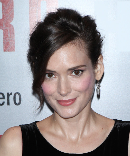 Winona Ryder Long Straight Casual Wedding Updo with Side Swept Bangs - Dark Brunette - side on view