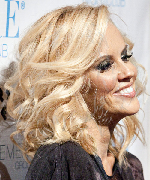 Jenny McCarthy Long Wavy Formal Hairstyle - Light Blonde (Strawberry) Hair Color - side on view