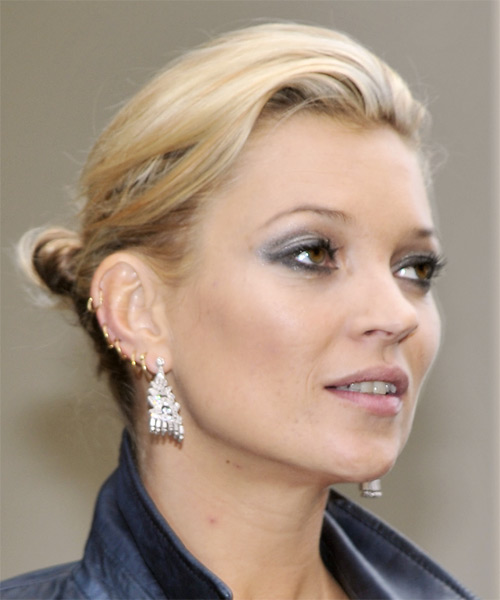 Kate Moss Casual Straight Updo Hairstyle - side view