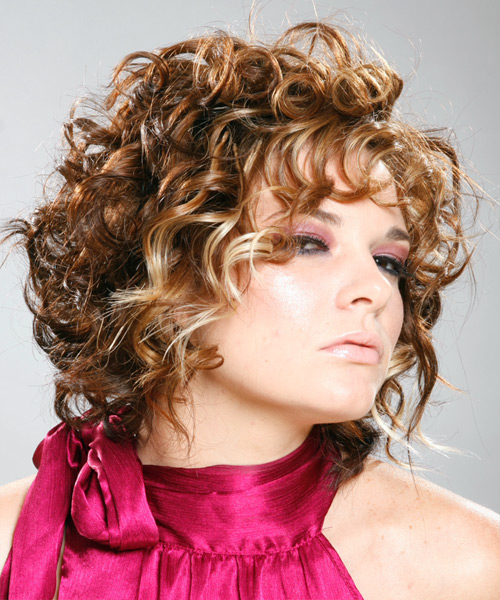 Short Curly Formal Hairstyle with Layered Bangs - Medium Brunette (Auburn) Hair Color - side on view