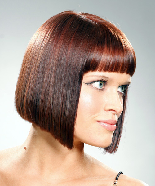 Medium Straight Casual Bob Hairstyle with Blunt Cut Bangs - Medium Brunette (Mahogany) Hair Color - side on view
