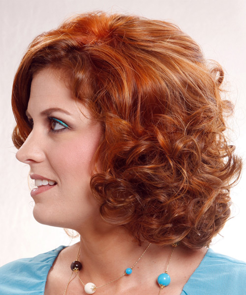 Formal Medium Curly Hairstyle - side view