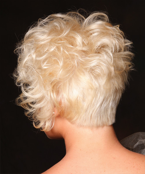 Short Curly Casual Hairstyle - Light Blonde (Platinum) - side view 2
