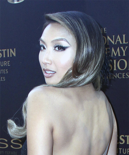 Jeannie Mai Long Straight Formal Updo Hairstyle - Dark Brunette Hair Color - side on view