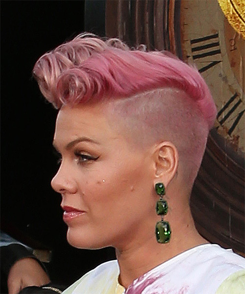 Pink Short Curly Alternative Mohawk - Pink - side on view