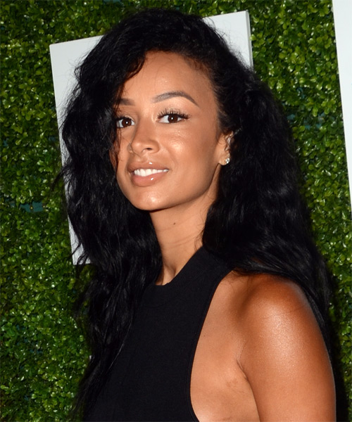 Draya Michele Long Curly Casual  - Black - side on view