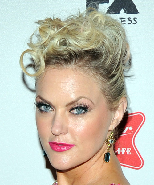 Elaine Hendrix Short Curly Casual Updo Hairstyle - Light Blonde Hair Color - side on view