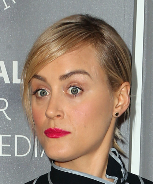 Taylor Schilling Medium Wavy Casual Updo Hairstyle with Side Swept Bangs - Light Blonde Hair Color - side on view