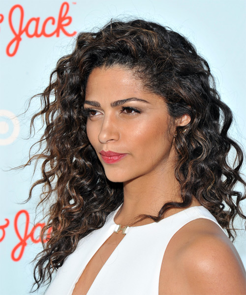 Camila Alves Long Curly Casual Hairstyle - Dark Brunette Hair Color - side on view