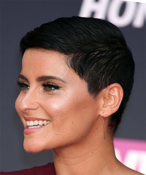 Nelly Furtado Short Straight Pixie Hairstyle - Black - side view