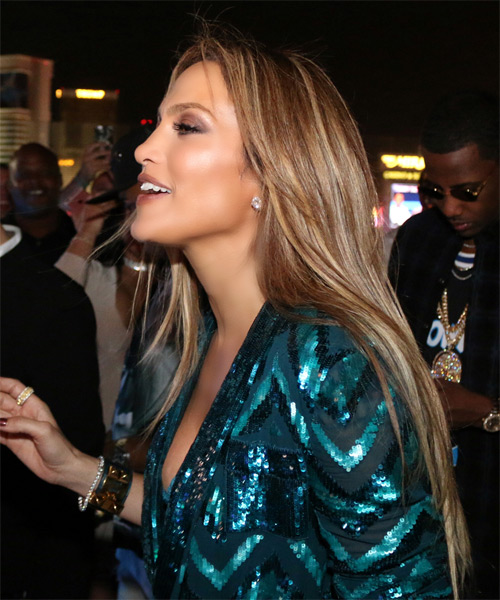 Jennifer Lopez Long Straight Formal Hairstyle - Dark Blonde Hair Color - side on view