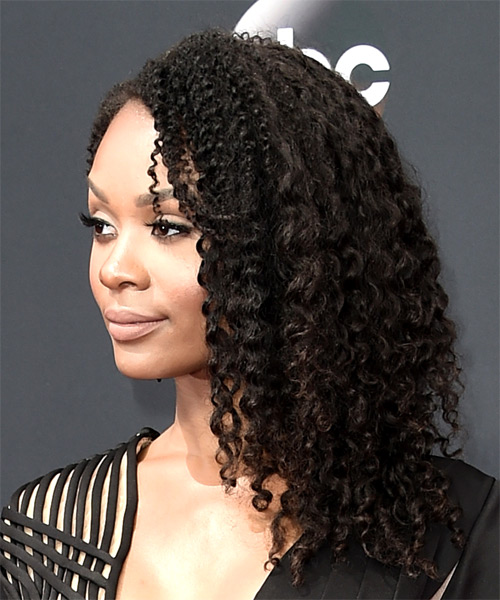 Zuri Hall Long Curly Casual - side on view