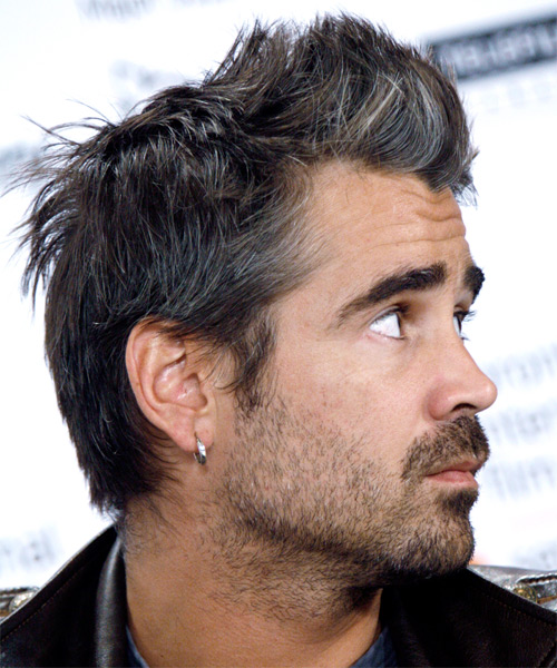 Colin Farrell Short Straight Casual  (Ash) - side on view