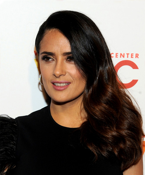 Salma Hayek Long Wavy Casual Hairstyle - Dark Brunette Hair Color - side on view