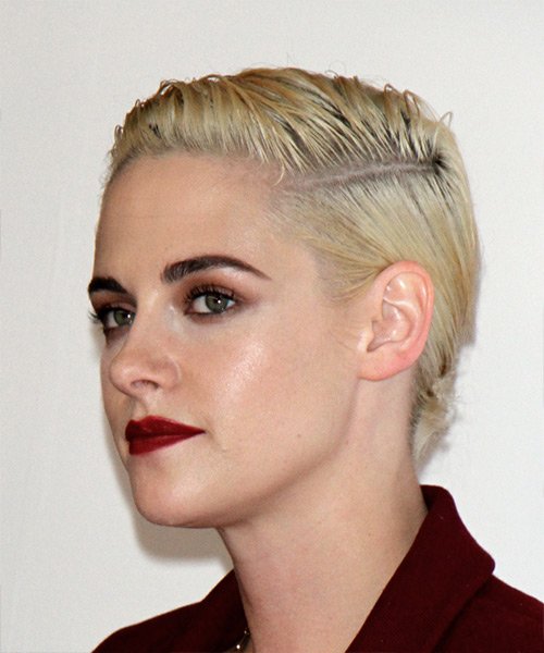 Kristen Stewart Short Straight Pixie Hairstyle - Light Blonde (Platinum) - side view