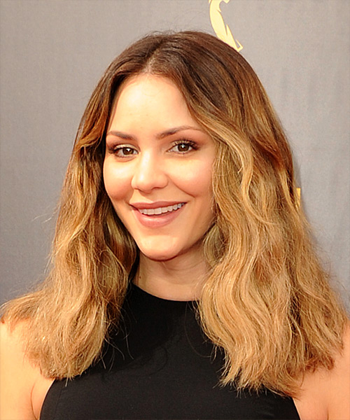 Katharine McPhee Long Wavy Casual Bob Hairstyle - Medium Blonde (Golden) Hair Color - side on view