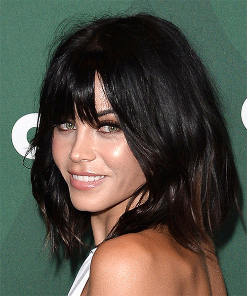 Jenna Dewan Medium Straight Casual Hairstyle with Blunt Cut Bangs - Dark Brunette Hair Color - side on view