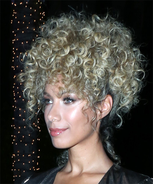Leona Lewis Medium Curly Casual Afro Updo - Light Blonde - side on view