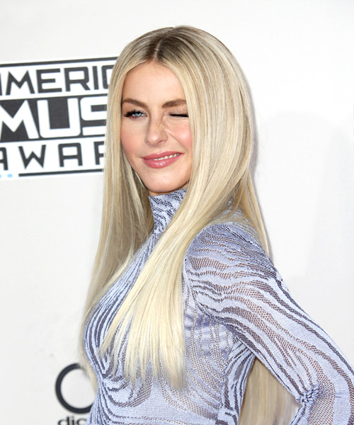 Julianne Hough Long Straight Hairstyle - Light Blonde (Platinum) - side view