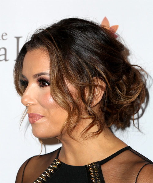 Eva Longoria Long Wavy Casual Updo Hairstyle - Light Brunette Hair Color - side on view