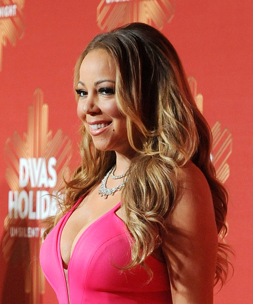Mariah Carey Long Curly Casual Hairstyle - Light Brunette Hair Color - side on view