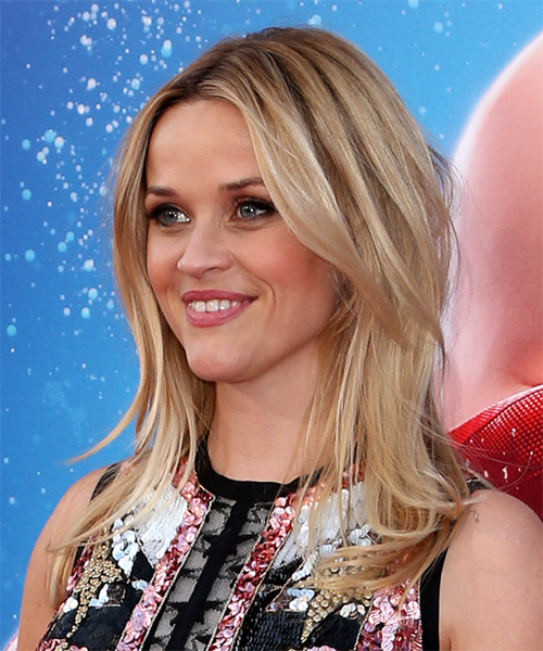 Reese Witherspoon Long Straight Casual Hairstyle - Light Blonde Hair Color - side on view