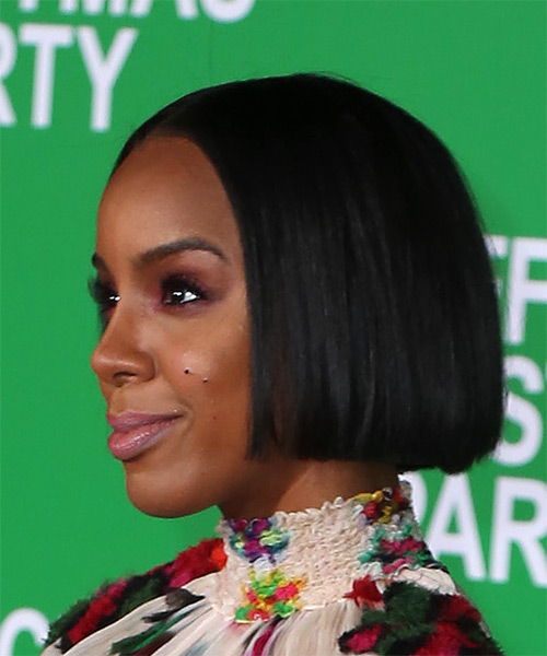 Kelly Rowland Short Straight Bob Hairstyle - Black - side view
