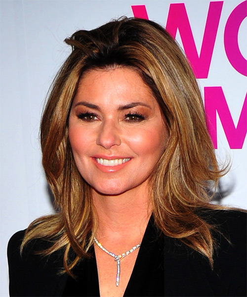 Shania Twain Medium Straight Hairstyle - Light Brunette - side view
