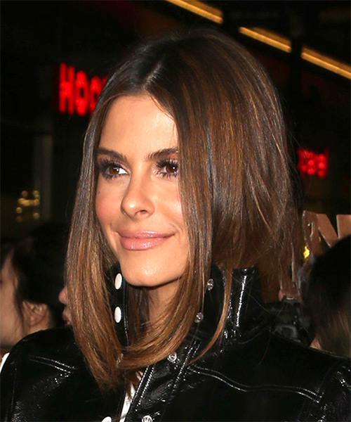 Maria Menounos Medium Straight Casual Bob Hairstyle - Medium Brunette - side view