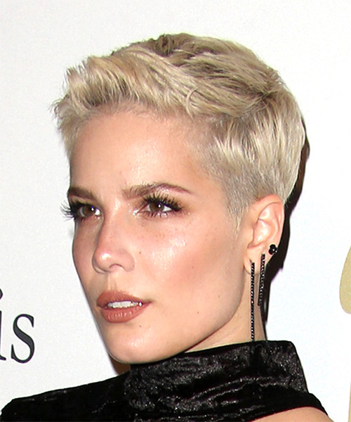 Halsey Short Straight Casual Pixie Hairstyle - Light Blonde Hair Color - side view