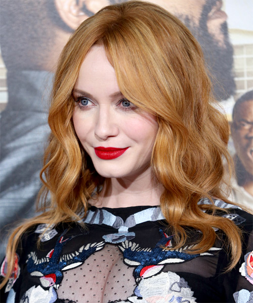 Christina Hendricks Long Wavy Hairstyle - Light Red - side view