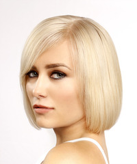 Short Straight Formal Bob with Side Swept Bangs - Light Blonde - side on view
