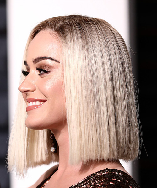 Katy Perry Medium Straight Formal Bob Hairstyle - Light Blonde (Platinum) Hair Color - side on view