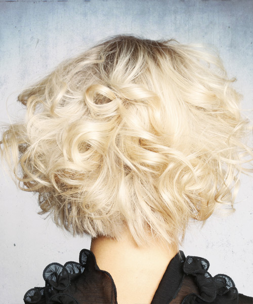 Short Curly Formal Shag Hairstyle with Layered Bangs - Light Blonde (Platinum) Hair Color - side on view