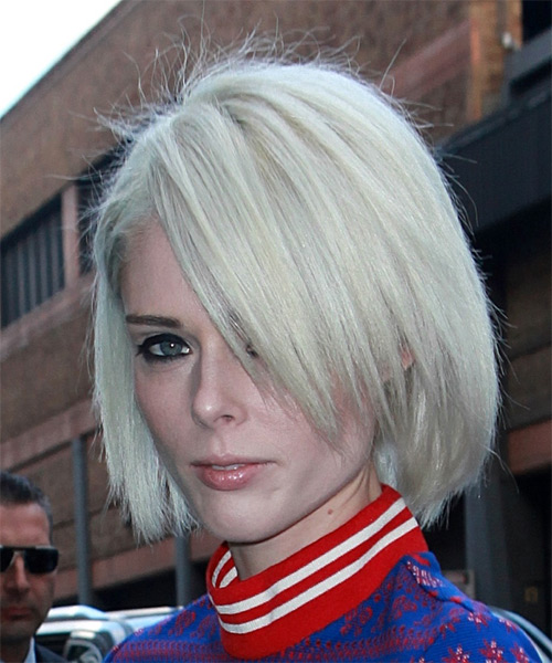 Coco Rocha Short Straight Casual Bob Hairstyle - Light Blonde (Platinum) Hair Color - side on view