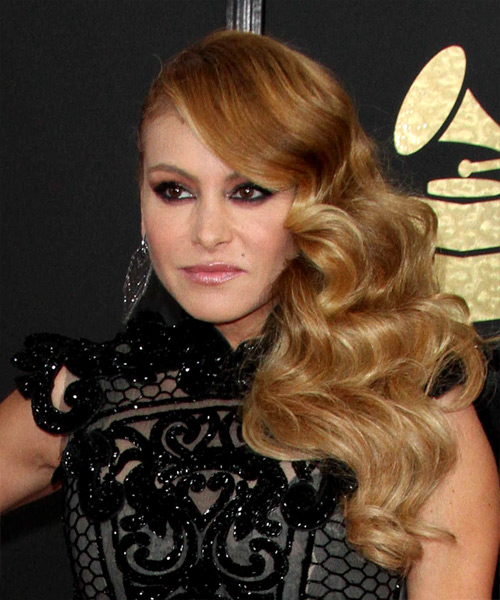 Paulina Rubio Long Curly Formal Hairstyle - Dark Blonde Hair Color - side on view