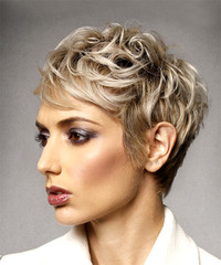 Short Wavy Formal Shag with Side Swept Bangs - Light Blonde (Ash) - side on view