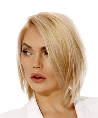 Short Straight Casual Bob - Light Blonde - side on view
