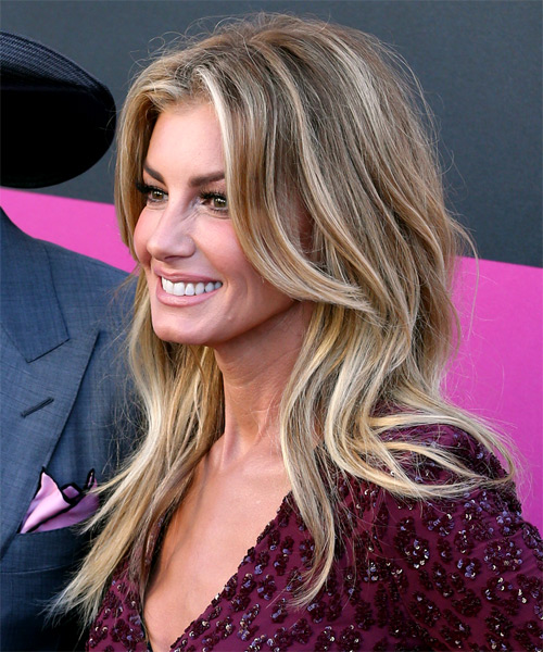 Faith Hill Long Straight Casual Hairstyle - Medium Blonde Hair Color - side on view