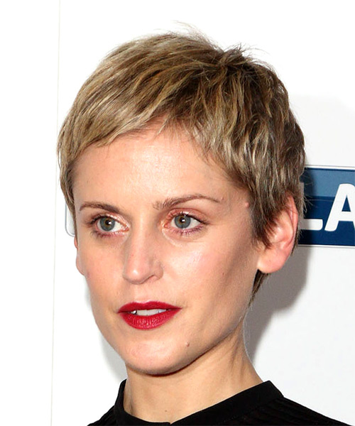 Denise Gough Short Straight Pixie Hairstyle - Light Blonde - side view
