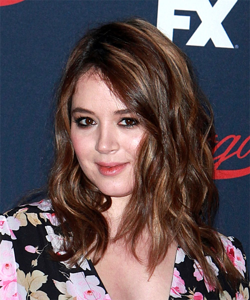 Kether Donohue Long Wavy Casual Hairstyle - Dark Brunette Hair Color - side on view