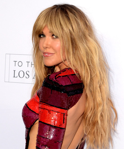 Rachel Platten Long Wavy Casual Hairstyle with Blunt Cut Bangs - Medium Blonde (Golden) Hair Color - side on view