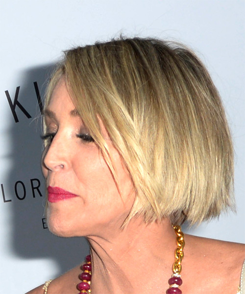 Sharon Stone Short Straight Bob Hairstyle - Medium Blonde - side view