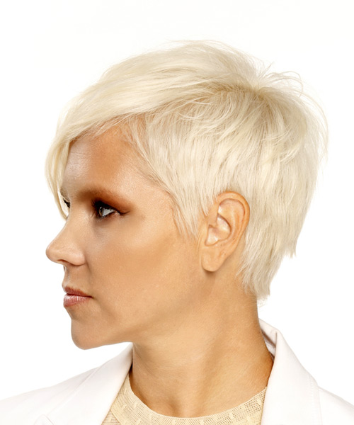Short Straight Casual Pixie Hairstyle - Light Blonde (Platinum) - side view